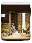 Barn With Hay Bales And Farm Equipment Duvet Cover