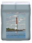 Barnegat Lighthouse - New Jersey - Christmas Card Duvet Cover