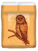 Barred Owl Coffee Painting Duvet Cover