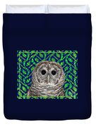 Barred Owl In A Fractal Tree Duvet Cover