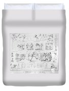 Baseball Cartoons, 1859 Duvet Cover