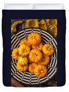 Basket Full Of Small Pumpkins Duvet Cover