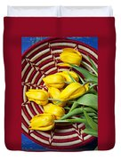 Basket Full Of Tulips Duvet Cover