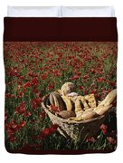 Basket Of Bread In A Poppy Field Duvet Cover