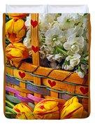Basket Of Spring Flowers Duvet Cover