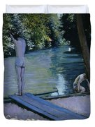 Bather About To Plunge Into The River Yerres Duvet Cover