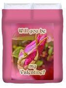 Be My Valentine Greeting Card - Rosebud Duvet Cover