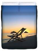 Beach Chair At Sunrise Duvet Cover