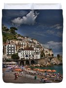 Beach Scene In Amalfi On The Amalfi Coast In Italy Duvet Cover