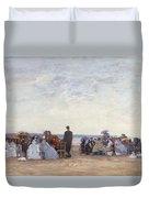 Beach Scene Near Trouville Duvet Cover by Eugene Louis Boudin