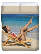 Beach Stretching II Duvet Cover