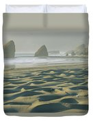 Beach With Dunes And Seastack Rocks Duvet Cover
