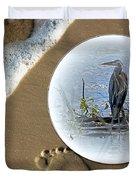Beached Heron Duvet Cover