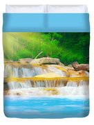 Beautiful Cascade Fall In Tropical Forest Duvet Cover