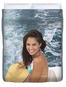 Beautiful Girl Boating Duvet Cover