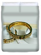 Beautiful Green And Purple Covered Gold Bangles With Semi-precious Stones Inlaid Duvet Cover