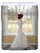 Beautiful Lady By Window Duvet Cover