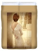 Beautiful Lady In Sequin Gown Looking Out Window Duvet Cover