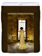 Beautiful Woman In Lace Gown In Abandoned Room Duvet Cover