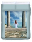 Beautiful Woman In White Duvet Cover