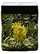 Beautiful Yellow Flowers Inside The National Orchid Garden In Si Duvet Cover