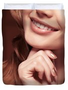 Beautiful Young Smiling Woman Mouth Duvet Cover by Oleksiy Maksymenko