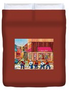 Beauty's Restaurant-montreal Street Scene Painting-hockey Game-hockeyart Duvet Cover
