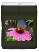 Bee Gathering Pollen On Cone Flower Duvet Cover