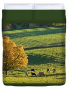 Beef Cattle Grazing In Autumn, North Duvet Cover