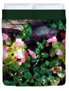 Begonias By Stone Wall Duvet Cover