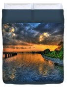 Sunset At Belle Isle Pier Detroit Mi Duvet Cover