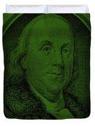 Ben Franklin In Dark Green Duvet Cover