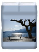 Bench And Tree On An Alpine Lake Duvet Cover