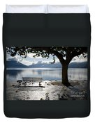 Bench And Tree On The Lakefront Duvet Cover