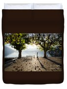 Bench And Trees On The Lake Front Duvet Cover