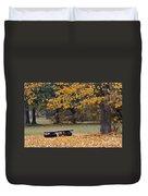 Bench In The Autumn Landscape Duvet Cover