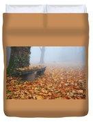 Bench In The Fog Duvet Cover