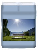 Bench On The Lakefront Duvet Cover