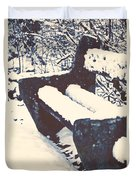 Bench With Snow Duvet Cover by Joana Kruse