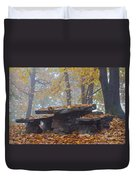 Benches And Table In Autumn Duvet Cover