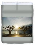 Benches And Trees On The Lakefront Duvet Cover