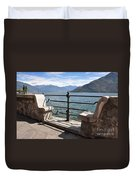 Benches On The Lake Front Duvet Cover