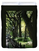 Benches Trees And Lamps Duvet Cover