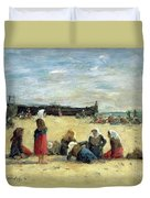 Berck - Fisherwomen On The Beach Duvet Cover