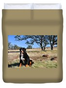 Bernese Mountain Dog In California Chaparral Duvet Cover