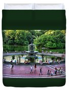Bethesda Fountain Overlooking Central Park Pond Duvet Cover