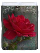 Betty's Red Rose II With Decorations Duvet Cover