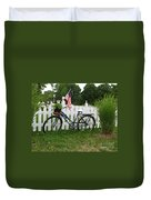 Bicycle And Picket Fence Duvet Cover