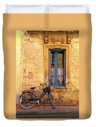 Bicycle And Window In France Duvet Cover