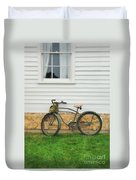 Bicycle By House Duvet Cover